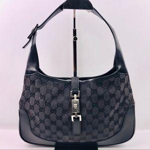 Authentic Gucci Jackie GG Blk Canvas Shoulder Bag